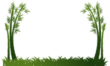Background Template With Bamboo And Grass