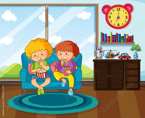 Poster Superheroes Two boys eating snack in livingroom