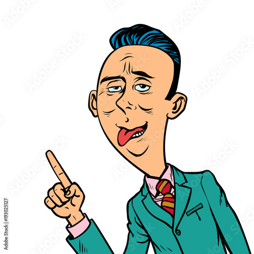 ridiculous funny weird businessman points finger gesture Canvas-taulu