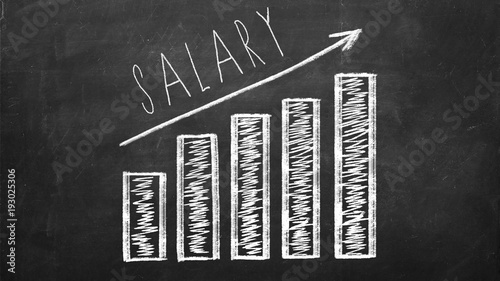 Valokuva Diagram with arrow showing growth of salary