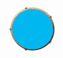 Top View Of Drum Leather Isolated On White Background. Blue Drum Head.