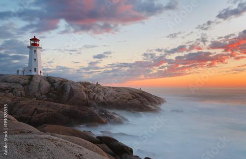Fotomural Beautiful Peggy Cove Light House with Sunset, Nova Scotia, Canada