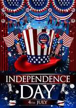 Independence Day Flyer Party With Lights, Confetti, Stars, Serpentine, Rockets Blue Background