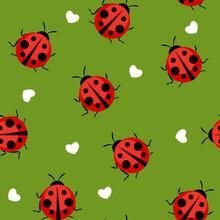 Cute Ladybug Seamless Pattern Background Vector Illustration