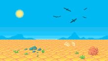 Pixel Art Desert Background.