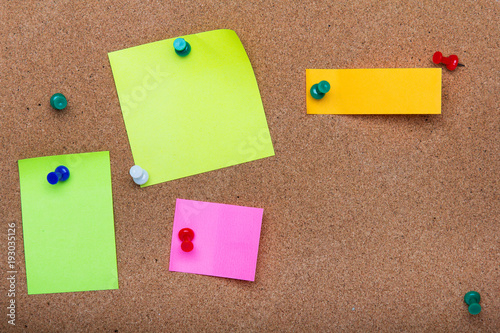 Pin board texture for background, corolful pins and sticky