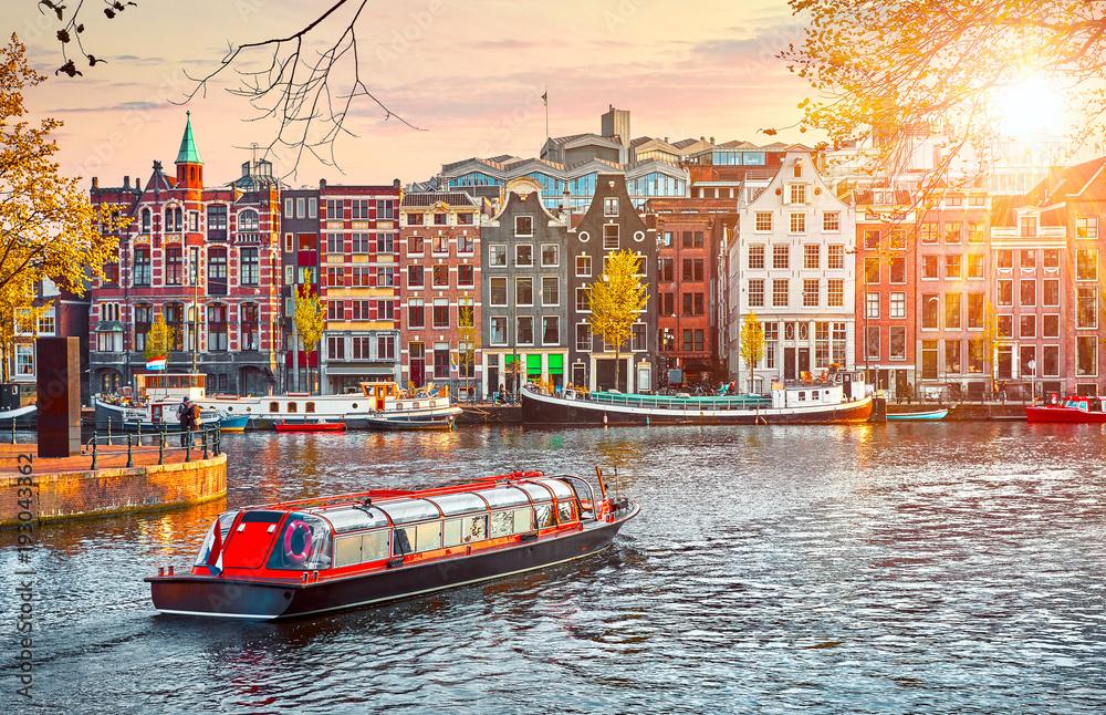 Fototapety, obrazy: Channel in Amsterdam Netherlands houses river Amstel landmark