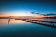 Leinwandbild Motiv Sunset Over the lake HDR Image