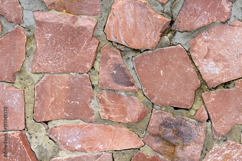 In de dag Stenen Stone wall bulge texture background natural color closeup selective focus
