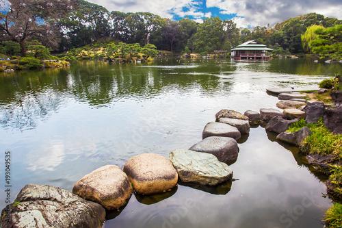 Obraz na plátně  Kiyosumi   TEIEN  garden with artificial pond.  TOKYO