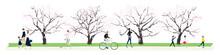 日本の春。桜並木を歩く人達のイラスト。