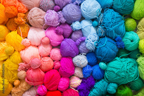 Fotografie, Tablou  Colored balls of yarn