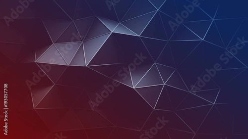Red and blue triangular polygons. Abstract trendy background. Seamless loop 3D animation 4k UHD (3840x2160)  - 193057708