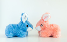 Pink And Blue Toy Easter Bunni...
