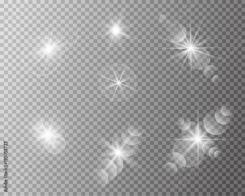Obraz Set of vector transparent sun flash with rays and spotligh. - fototapety do salonu