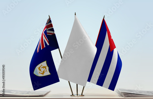 Flags of Anguilla and Cuba with a white flag in the middle Wallpaper Mural