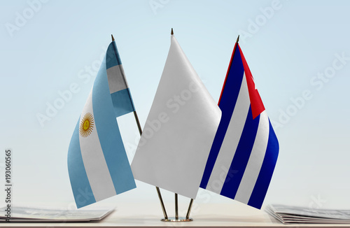 Flags of Argentina and Cuba with a white flag in the middle Canvas Print