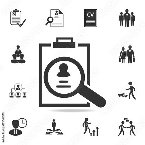 cv review icon  set of human resources  head hunting icons
