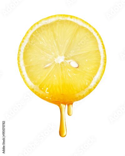 Honey dripping from lemon slice isolated Wallpaper Mural