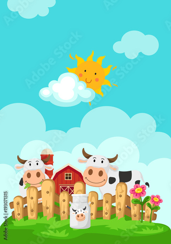 Illustration of landscape with cows and farm background