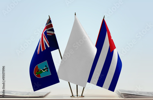Flags of Montserrat and Cuba with a white flag in the middle Wallpaper Mural