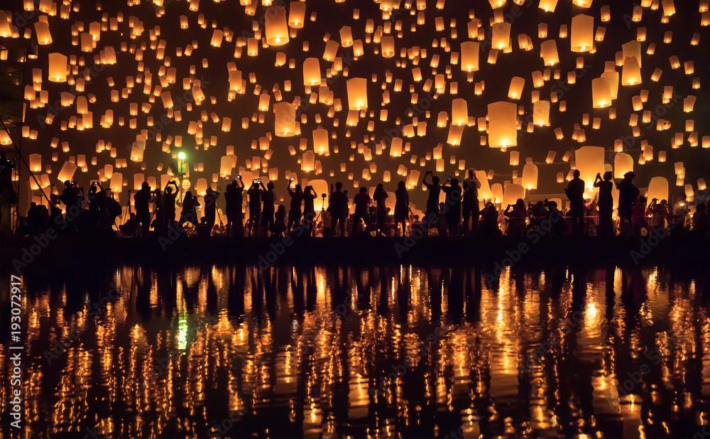 Fototapety, obrazy: Yi Peng festival, Chiang Mai, Thaïlande
