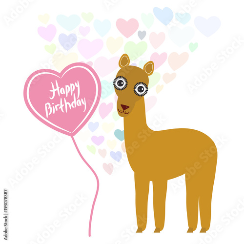 Photo  Happy birthday Card cute kawaii lama with balloon in the shape of heart, pastel colors on white background