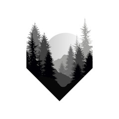FototapetaBeautiful nature landscape with silhouettes of trees, mountains, sunset of big sun, natural scene icon in geometric shape design, vector illustration in black and white colors