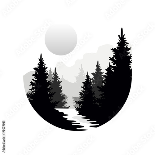 Fototapeta Beautiful nature landscape with silhouettes of forest coniferous trees, mountains and sun, natural scene icon in geometric round shaped design, vector illustration in black and white colors obraz