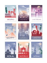 City Cards Set, Landscape Template Of Flyer, Poster, Book Cover, Banner, Berlin, Vienna, Las Vegas, Egypt, Amsterdam, Moscow, Rome, New Delhi, Sydney Vector Illustrations