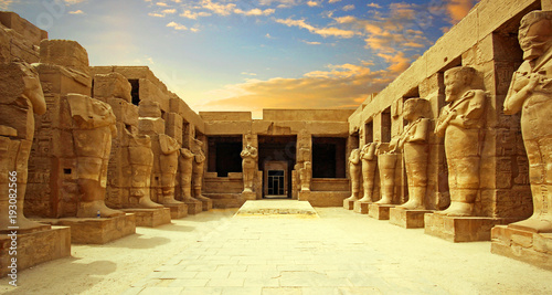Photo Stands Historical buildings Anscient Temple of Karnak in Luxor - Ruined Thebes Egypt