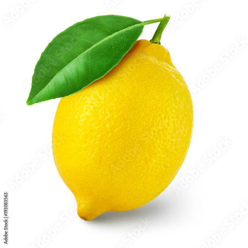 lemon fruit with leaf Poster Mural XXL