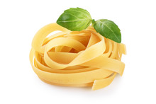 Raw Tagliatelle Pasta And Basi...