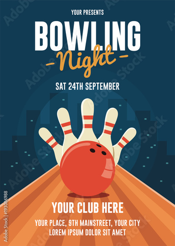 Obraz na plátně Bowling Night Flyer Template
