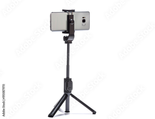 smart phone and tripod isolated on white background #193087970