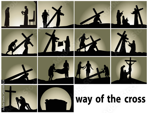 Abstract religious background with Way of the Cross stations Wallpaper Mural