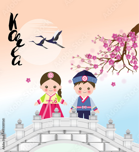 Cute girl and boy standing on a bridge under sakura tree in korean cute girl and boy standing on a bridge under sakura tree in korean traditional costume with m4hsunfo