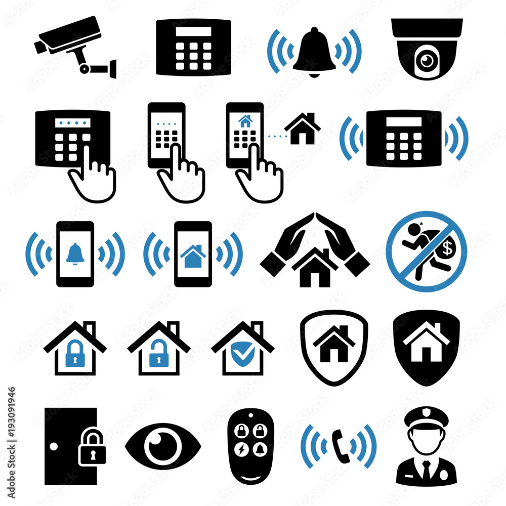 Fototapeta Security system network icons. Vector illustrations.