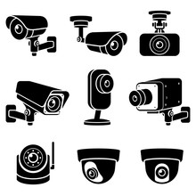 CCTV Camera Icons. Vector Illu...