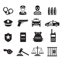 Police Icons. Vector Illustrat...