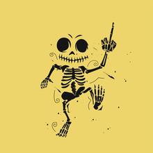 Human Dancing Skeleton On Gold...