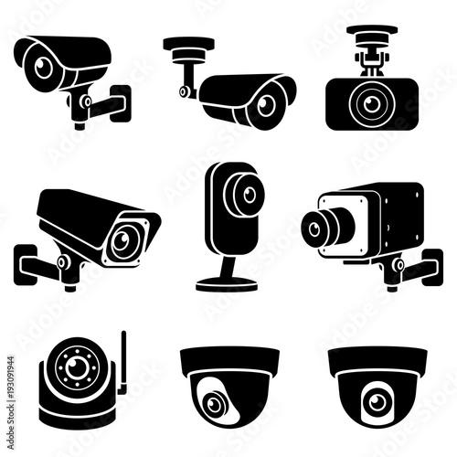 CCTV camera icons. Vector illustrations. Wallpaper Mural