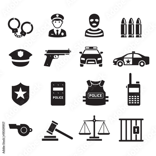 Fotografía  Police icons. Vector illustrations.