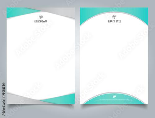 Fototapeta Abstract creative letterhead design template light blue color geometric triangle and curve shape overlay on white background. obraz