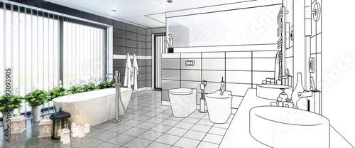 Fotografia  Draft of Luxurious Bathroom Furnishing (panoramic)