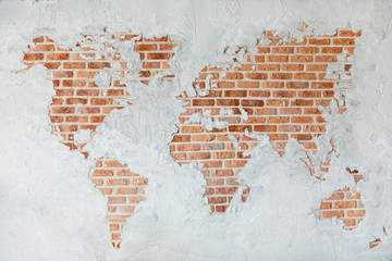 Fototapeta Architektura Red brick wall with earth plaster and white ground