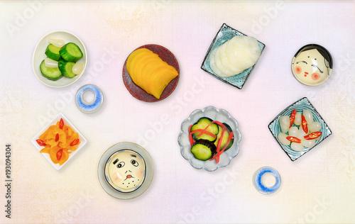 Deurstickers Klaar gerecht Japanese pickled vegetables (in Japanese
