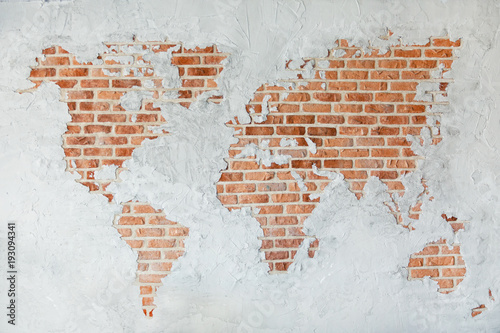 Foto op Canvas Wereldkaart Red brick wall with earth plaster and white ground