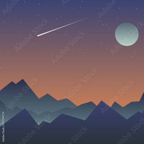 Cadres-photo bureau Bleu vert A picture of nature. Burn, starry sky, the moon shines and the star falls