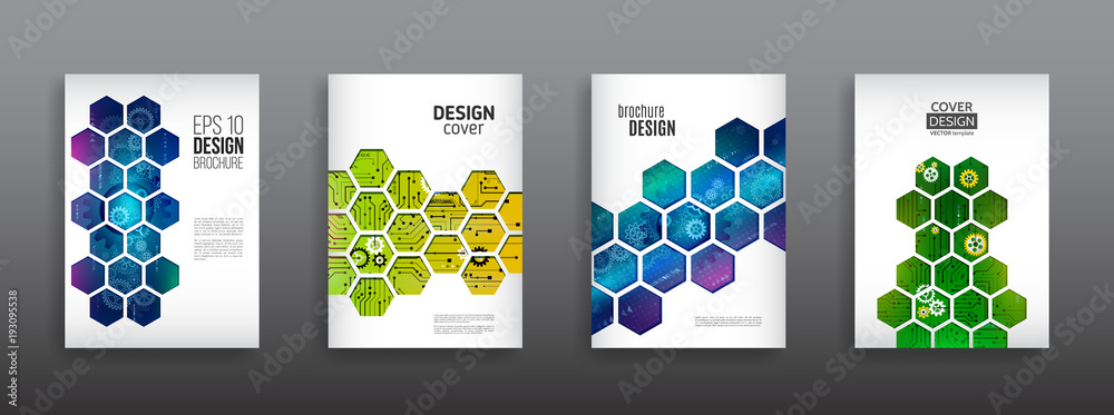 Fototapeta Abstract technology cover with hexagon elements. High tech brochure design concept. Futuristic business layout. Digital poster templates.